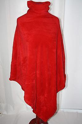 * Neu * Poncho Stola Mantel Fleece Rot Pullover Rollkragen Wolldecke Durchblutung GläTten Und Schmerzen Stoppen
