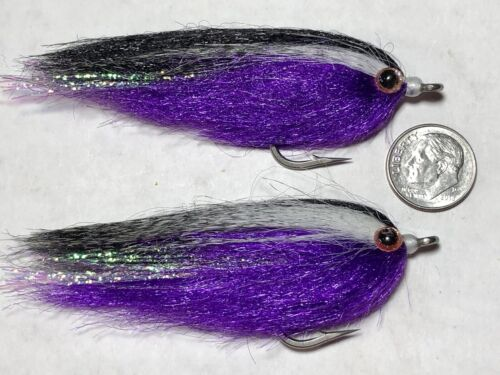 BASS MUSKY Details about  /2 PURPLE // BLACK BAITFISH FLIES PIKE bf01 FLY FISHING SALTWATER