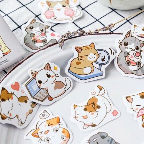 45Pcs//Lot Japanese Cute Cat Stickers Diary Decoration DIY Scrapbooking Stickers