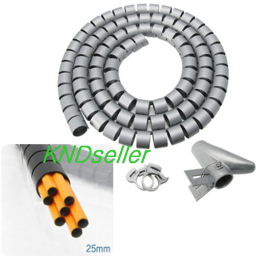 2.5cm 1in Diameter Gray Flexible Cord Cable Wire Organizer Wraps Hiding tie