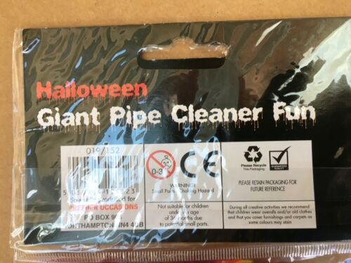 5 PIPES+STICKER SHEET+WOBBLY EYES HALLOWEEN GIANT PIPE CLEANER FUN PARTY KIT