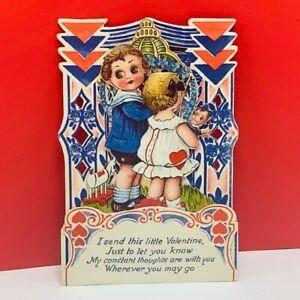 Valentines-day-card-antique-ephemera-pop-fold-out-rare-vintage-vtg-kids-doll-mcm