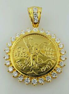 50 pesos Mexican coin pendant necklace centenario Gold Plated with its coin H