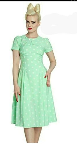 v Brand new hellbunny dress hell bunny mint green polka dot 50s style size 10
