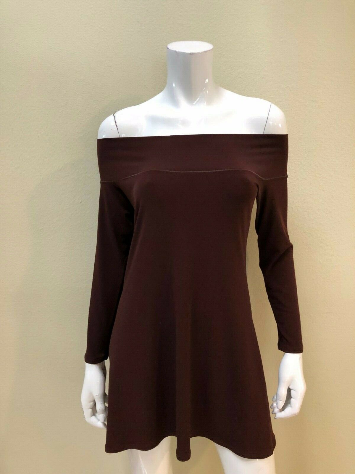 EVA VARRO NWT Solid braun Off the Shoulder Long Sleeved Top Blouse Größe Large