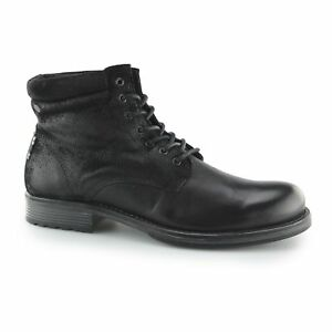 Jack-amp-Jones-JUSTIN-Mens-Leather-Suede-Lace-Up-Ankle-Casual-Derby-Boots-Black