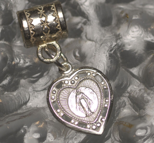 WOW Sterling Silver 925 European Bead Charm Blessed Virgin Mary Mother Jesus Hea