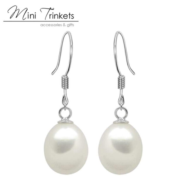 925 Sterling Silver Cultured Freshwater Pearl Drop Earrings Wedding Bridal Gift