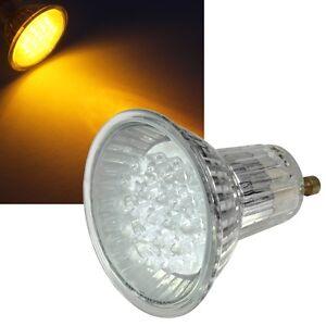 led strahler gu10 gelb 230 volt 1 4w 19 leds leuchtmittel hochvolt lampe ebay. Black Bedroom Furniture Sets. Home Design Ideas
