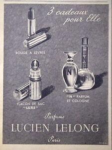 PUBLICITE-LUCIEN-LELONG-3-CADEAUX-ROUGE-A-LEVRES-FLACON-DE-SAC-LUXE-034-N-034-PARFUM