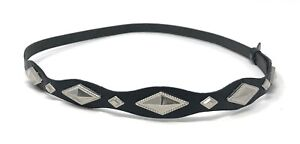 Black-amp-Silver-Adjustable-Leather-Hatband-for-Western-Cowboy-Hats-HAT-BAND-ONLY