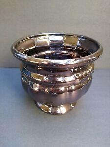 Haeger-Pottery-Floral-Metallic-Bronze-Ceramic-Vase-Planter