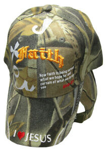 341cb878 Details about Faith Heb 11:1 I Heart Love Jesus Camo Camouflage Embroidered  Cap CAP827D Hat