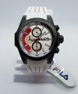 Details zu FILA Herrenuhr mit Silikonarmband Weiß Rot Schwarz 10 ATM  Stoppfunk. Armbanduhr