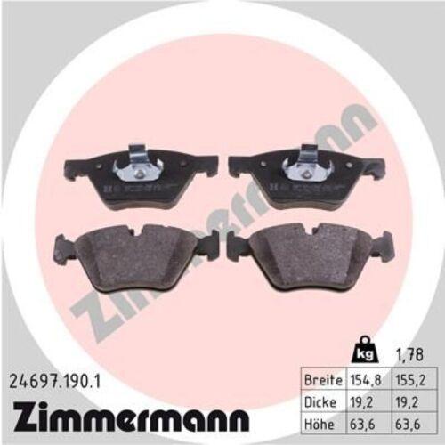 Bremsbeläge vorne für BMW 5 F10 Zimmermann Bremsscheiben Ø330mm Touring F11