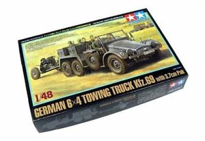 Tamiya-Military-Model-1-48-German-6-x-4-Towing-Truck-Kfz-69-with-3-7cm-Pak-32580
