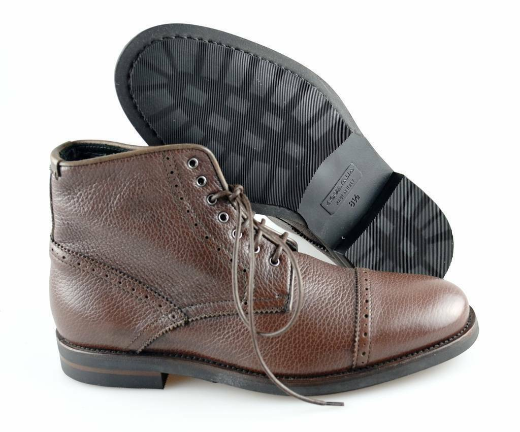 Men's AQUATALIA 'Carter' Brown Leather Cap Toe Boots Size US 8.5 - D