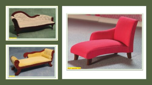 1:12 scale dolls house miniature chaise lounge 3 to choose from.