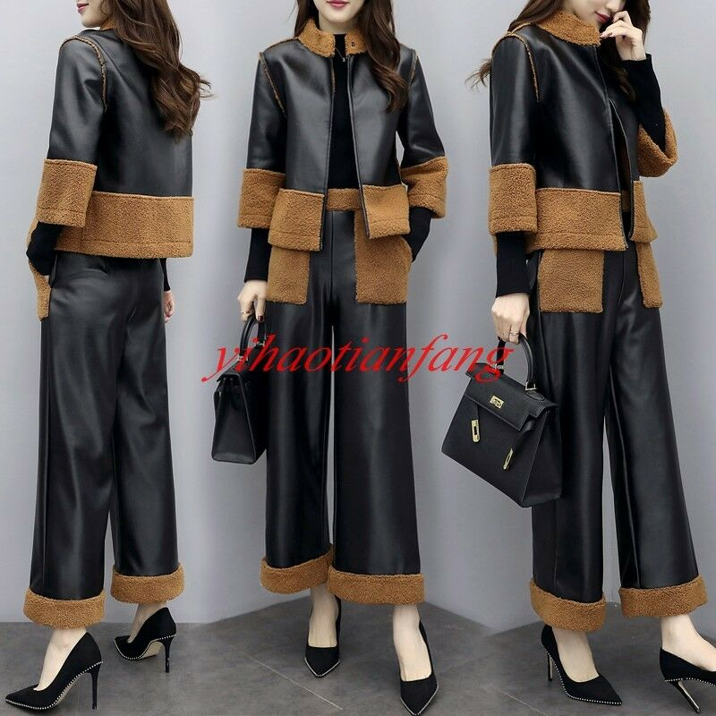 Womens Leather Lamb Fur Sheepskin 2PCS Coat Pants Winter Warm Slim Fit Short New