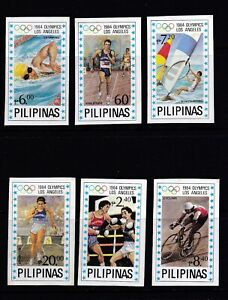 Philippines Sports 1984 Los Angeles Olympic Imperforate (BLUE STAR) 6v set MNH
