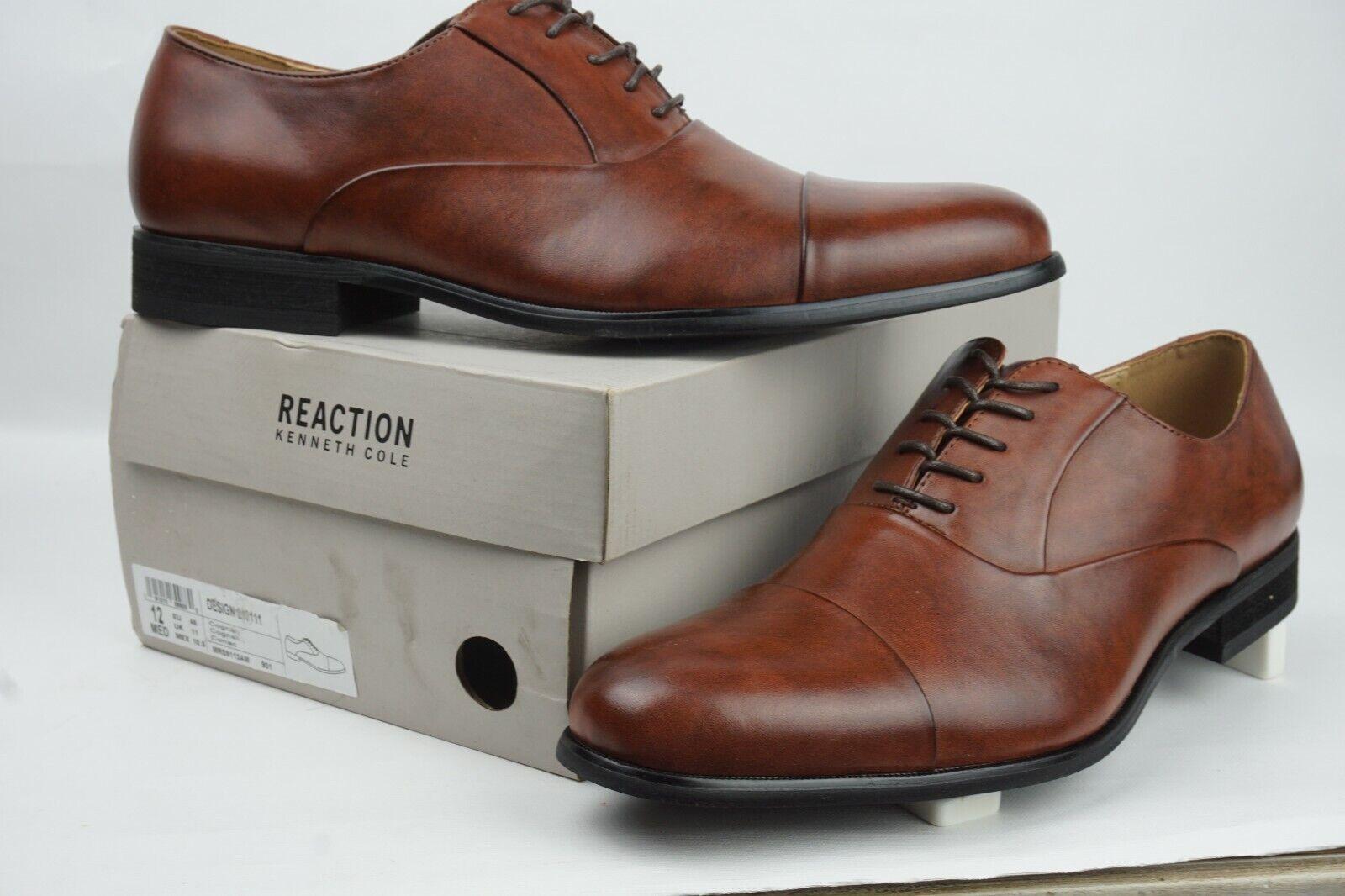 Kenneth Cole Reaction Design 213111 Mens Cognac Oxford Shoe Men Sz 12M US Eu 46