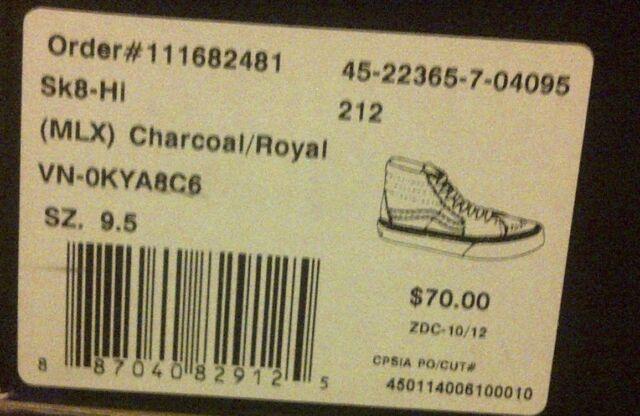 fe444ec0603e Buy 2 VANS Mlx Charcoal Royal Blue Size 9 9.5 10 Hi-tops Suede Sk8 ...
