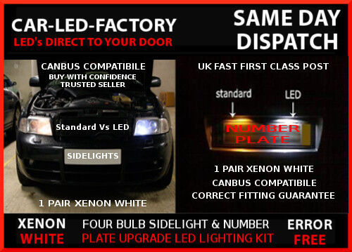 FORD C-MAX 1999-2010 LED UPGRADE KIT SIDELIGHTS /& NUMBER PLATE SET 4 BULB