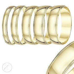 9ct-Yellow-Gold-Ring-Court-Milgrain-Wedding-Band-3mm-4mm-5mm-6mm-7mm
