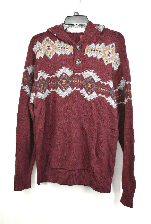 Arizona Jeans Mens Red Aztec Knit Print Long Sleeve 2 Button Cotton Hoodie XL