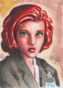 Dana-Scully-X-Files-Original-Sketch-Card-Painting-by-Chris-McJunkin