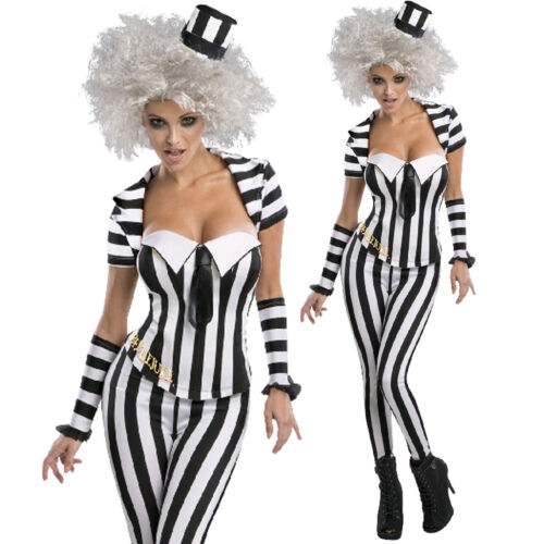 Licenced Beetlejuice Corset Costume Womens Fancy Dress Party Halloween Outfit