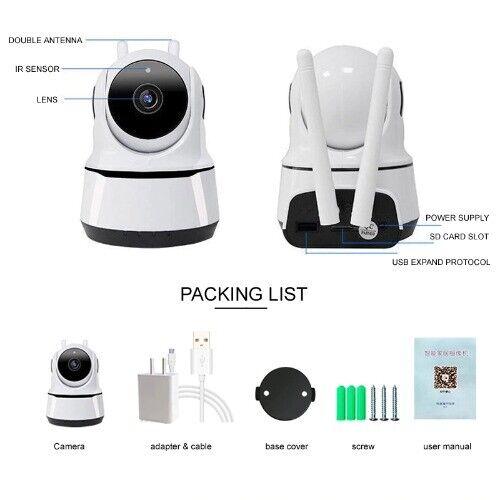 1080P Wifi IP Caméra de Surveillance Sans fil Vision Nuit Sécurité Intérieur