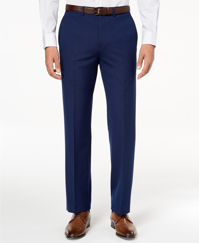 RYAN SEACREST 38W 32L Men blueE MODERN FIT SUIT STRETCH DRESS TROUSERS PANTS