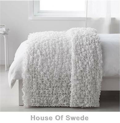 IKEA Blanket Bedspread Stretchable Bed Throw Rug White Ruffled Couch Sofa OFELIA