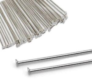 250-Kettelstifte-Nadel-50mm-Nietstifte-Versilbert-Kopfstifte-Silber-M316