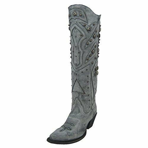 CORRAL Women's LD Grey Full Studded Snip Toe Cowgirl Boots R1331