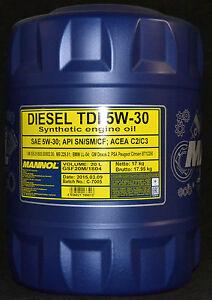 20Liter-Mannol-Diesel-TDI-5W-30-Motoroel-VW-BMW-LL-04-Opel-dexos-Mercedes-229-51