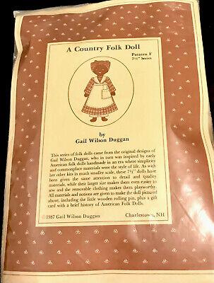 "Moss Bank Cottage American COUNTRY FOLK DOLL KIT BOY Fabric  H 7.5"" Gail Wilson"