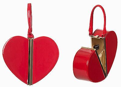 Banned Apparel rotes Herz 50s Rockabilly lackiert Teilung Vintage Handtasche