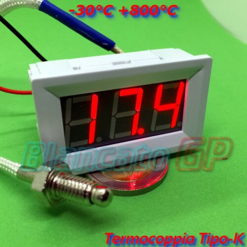 800°C con Termocoppia Tipo K 12V DC LED Rosso cornice bianca 30 Termometro