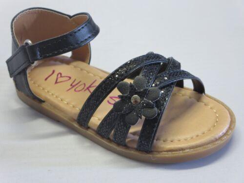 bella11 TODDLER Black Blue Gold Silver Pink Yokids Girl Dress Sandals Glitter