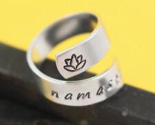 Namaste Lotus Flower Inspirational Adjustable Twist Wrap Ring - Aluminum - Yoga