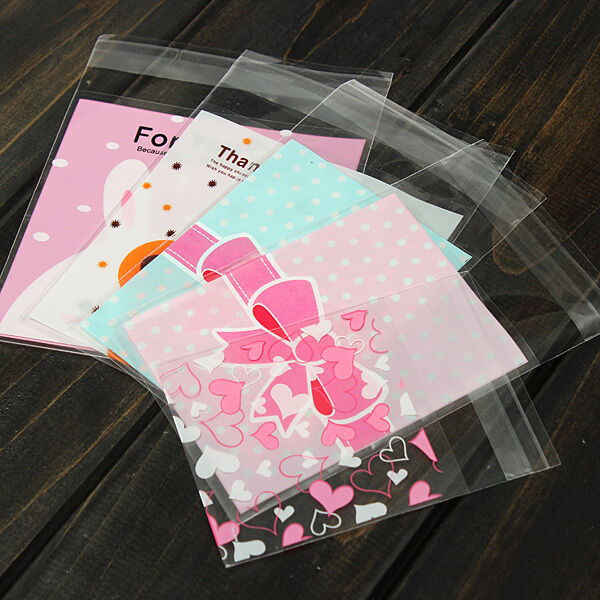 100X Self Adhesive Cookie Candy Package Gift Bags Cellophane Wedding Birthday