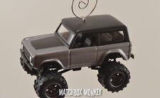 Custom Silver / Gray '73 Ford Bronco 4x4 Truck Christmas Ornament 1/64 emblem