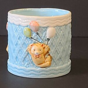 Vintage Relpo Blue Baby Planter Teddy Bears And Balloons