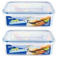 2 x 1.5L CLIP & LOCK AIRTIGHT FOOD CONTAINER STORAGE BOX FREEZE