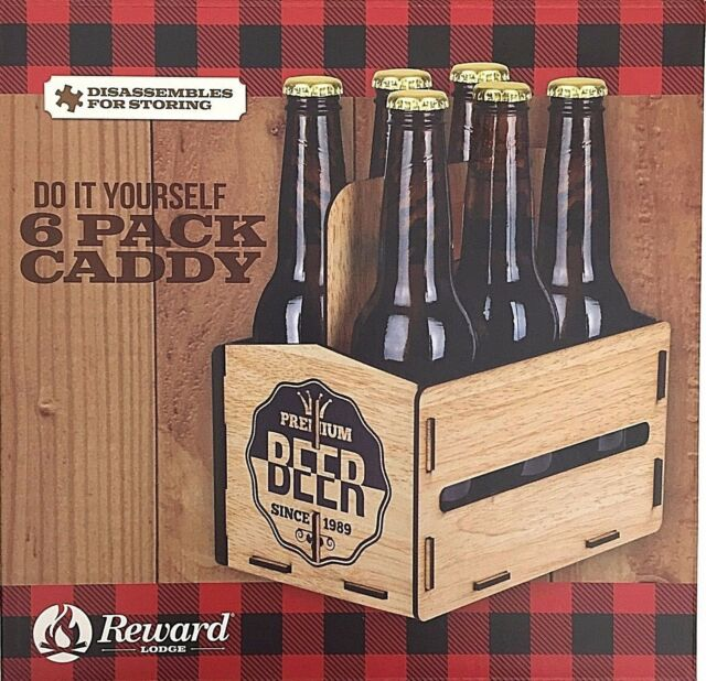 Reward lodge do it yourself 6 pack caddy lightweight faux wood do it yourself 6 pack beer bottle caddy built in handle no tools needed man cave solutioingenieria Gallery