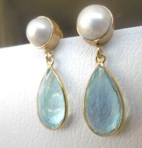 Blautopaz-Quartz-Ohrringe-Keshi-Zuchtperle-925-Silber-vergoldet