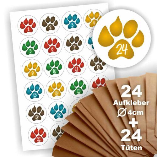 24 Aufkleber Pfote Hund Tier Adventskalender zum Befüllen 24 Geschenktüten
