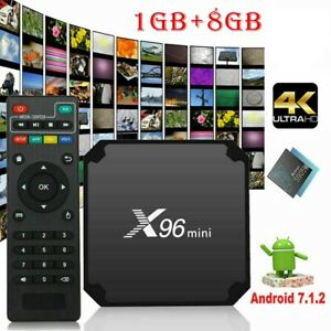 HD X96 Mini 1GB +8GB Android 7.1.2 Quad Core Smart TV Box WiFi 4K Media Remote